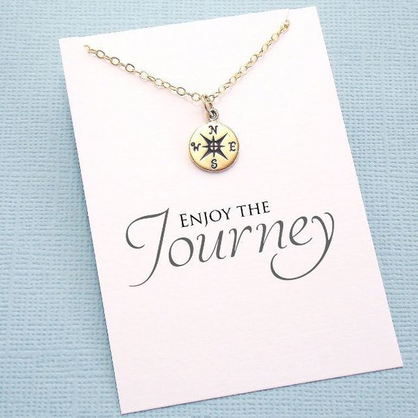 """Compass Necklace, $24 at <a href=""""https://www.etsy.com/listing/150051637/graduation-necklace-gift-compass?ga_order=most_relev"""