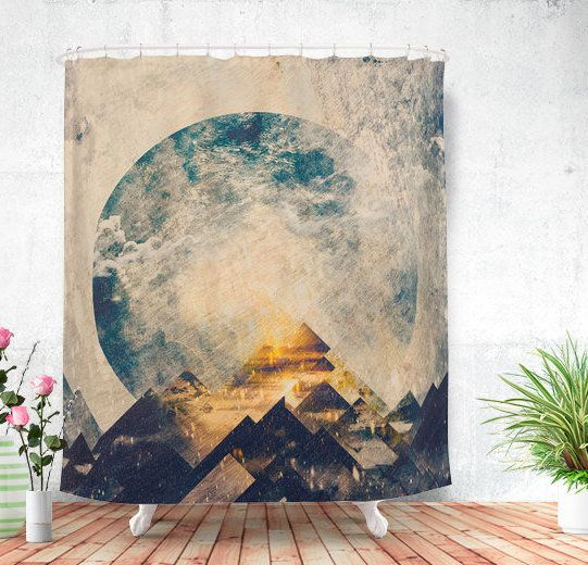 """One Mountain At A Time Shower Curtain, $85 at <a href=""""https://www.etsy.com/listing/248298192/one-mountain-at-a-time-shower-c"""