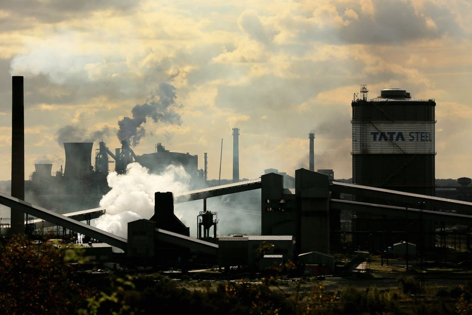 A view of the Tata Steel processing plant at Scunthorpe which made1,200 workers redundant in October in Scunthorpe, Eng