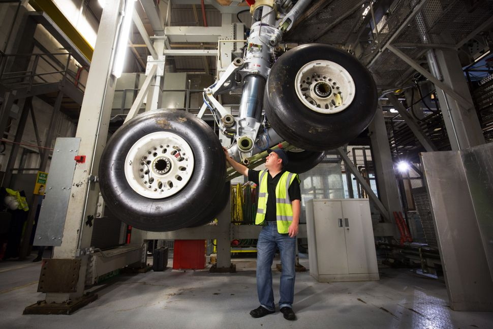 Airbus aircraft landing gear is tested at the Airbus aircraft manufacturer's Filton site on Nov. 19, 2015, in Bristol, Englan
