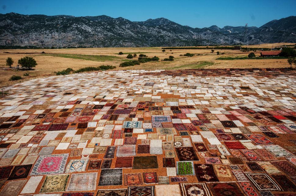 Hand made carpets, brought from varied regions of Turkey, are laid under the sun on a field to soften their color in the Dose