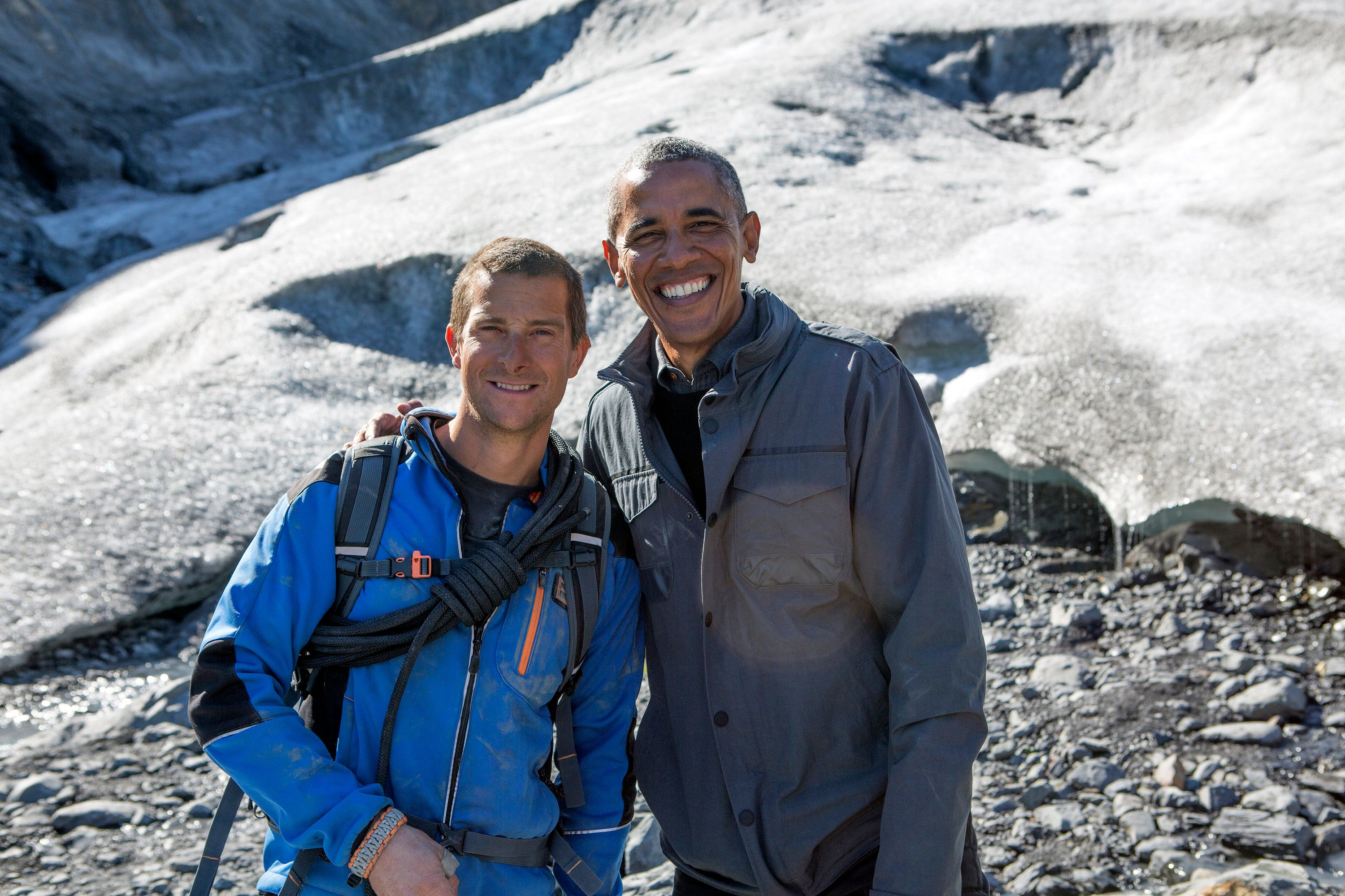 RUNNING WILD WITH BEAR GRYLLS -- 'President Obama' Episode 209 -- Pictured: (l-r) Bear Grylls, President Barack Obama -- (Photo by: Delbert Shoopman/NBC/NBCU Photo Bank via Getty Images)
