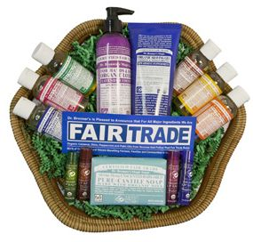 The organic lip balm, soaps and lotion included in this basket are gentle on the skin and biodegradable (so you can clean you