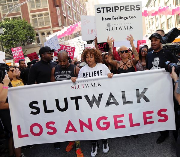 "In October, model and artist Amber Rose <a href=""http://www.amberroseslutwalk.com/"">hosted a slut walk in downtown Los A"