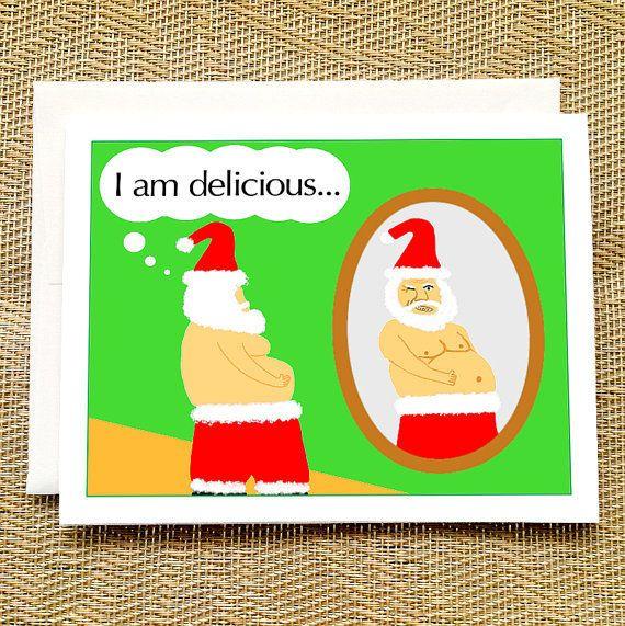 "Buy it <a href=""https://www.etsy.com/listing/211215894/funny-christmas-card-sexy-santa-is?ga_order=most_relevant&ga_searc"