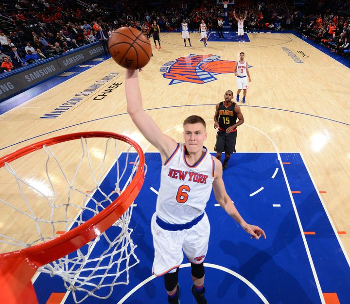New York's star rookie, 7-foot-3 Kristaps Porzingis, earned Eastern Conference Rookie of the Month honors and is averaging ne