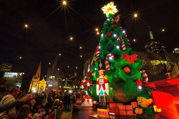 Over half a million Lego bricks were used to create this Christmas tree in Federation Square.