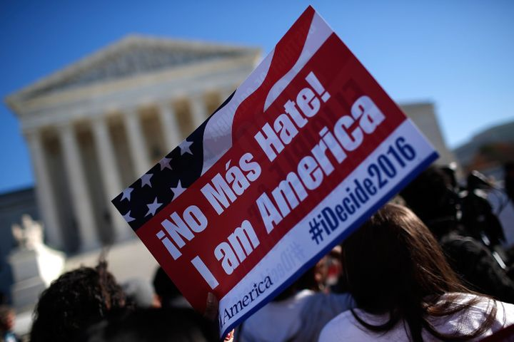 Demonstrators appeal to the Supreme Court to implement President Obama's immigration reforms.