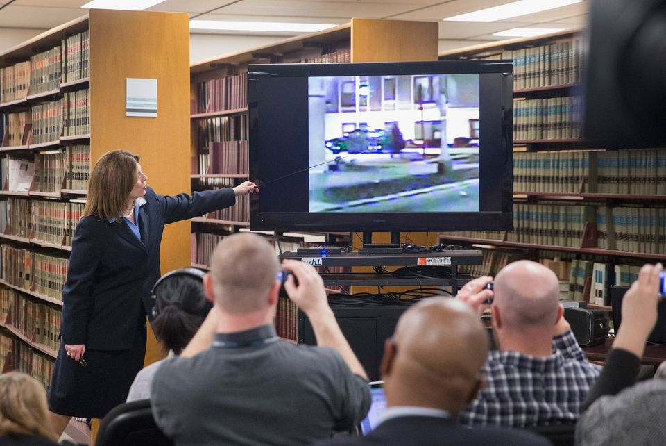 CHICAGO, IL - DECEMBER 07:  Assistant Cook County State's Attorney Lynn McCarthy discusses the police dash camera shooting of