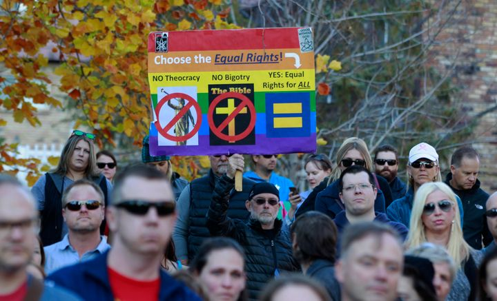 Demonstrators protest new anti-gay policies from the Mormon church.