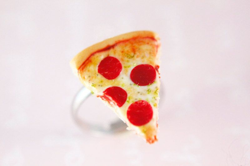 "Pizza ring, $15, <a href=""https://www.etsy.com/listing/257276992/miniature-food-jewelry-pizza-ring?ga_order=most_relevan"