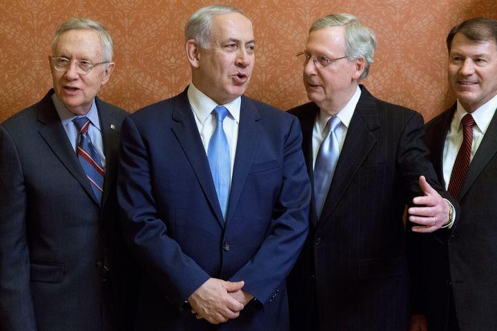 Israeli Prime Minister Benjamin Netanyahu meets with U.S. Senate leaders following the Iran nuclear deal.