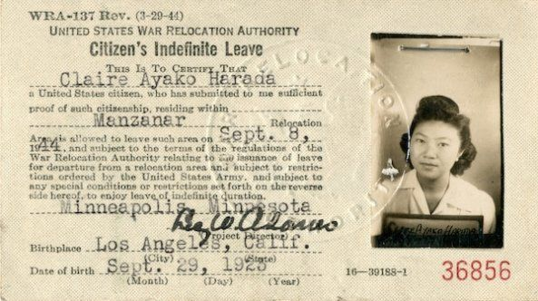 Citizen's Indefinite Leave Pass for Claire Ayako Harada, September 8, 1944
