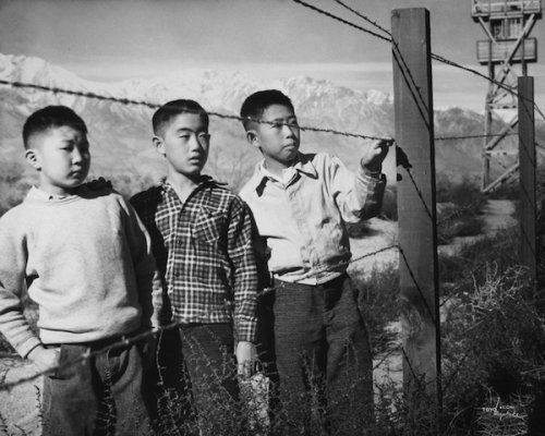 Boys Behind Barbed Wire (Norito Takamoto, Albert Masaichi, and Hisashi Sansui), 1944. <br><br>Photos in this series courtesy