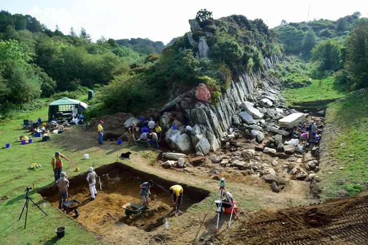 An excavation atCraig Rhos-y-felin in Wales, believed to be the source of some of the bluestones used in Stonehenge.&nb