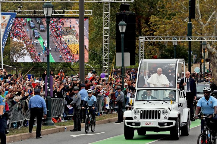 Pope Francis waved to the crowd from the Popemobile during his visit last September to Philadelphia.
