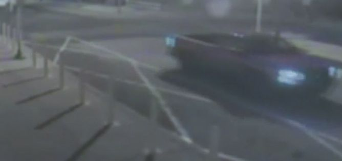 Surveillance footage shows what appears to be a pig's head being thrown from a vehicle