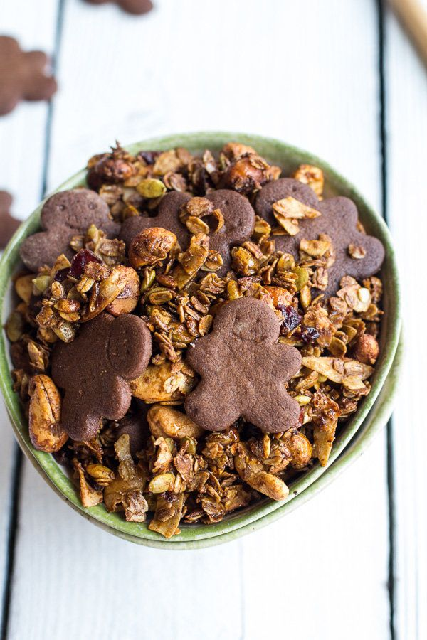"""<strong>Get the <a href=""""http://www.halfbakedharvest.com/gingerbread-boy-granola/"""">Gingerbread Boy Granola recipe</a> from Ha"""