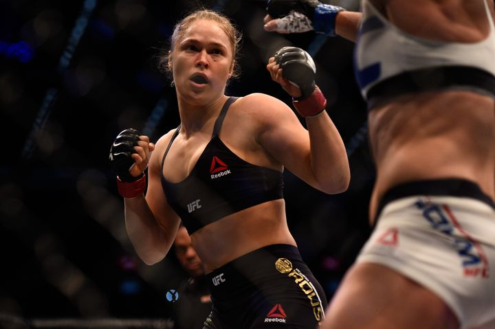 Ronda Rousey faces Holly Holm in their UFC women's bantamweight championship bout during the UFC 193 event at Etihad Stadium