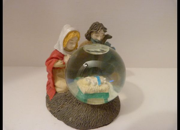 Oestreicher is particularly amused by this snow globe Nativity, mainly because of the way Mary and Joseph are looking at thei