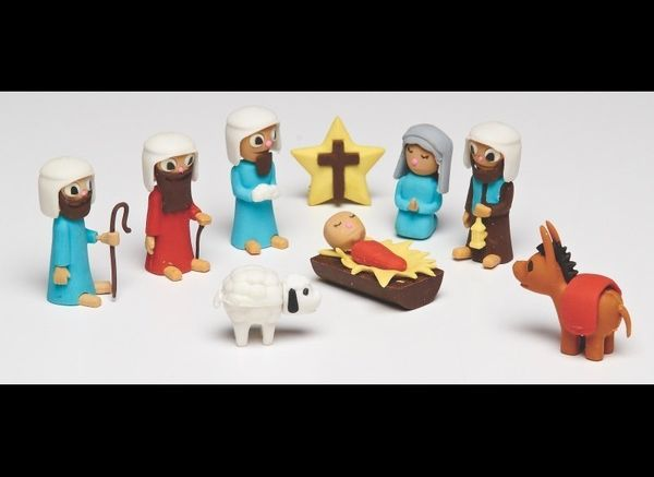 A Nativity-themed puzzle eraser set may seem bizarre, but Oestreicher points out that Christians believe Jesus came to E