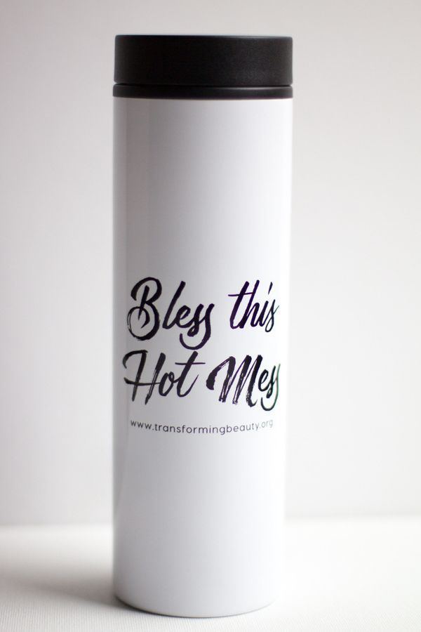"""<a href=""""http://www.transformingbeautyshop.com/products/bless-this-hot-mess-travel-coffee-mug"""">Bless This Hot Mess Travel Cof"""