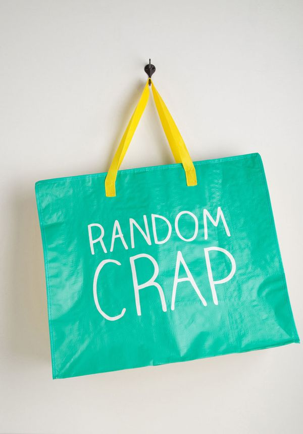 "Random Crap Bag, $11.99, <a href=""http://www.modcloth.com/shop/store-organize/random-kindness-bag"" target=""_blank"">ModCl"
