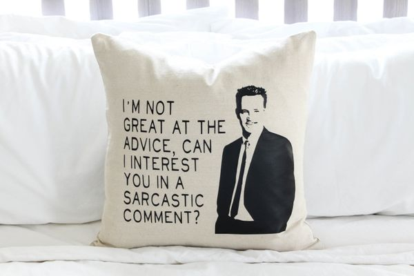 "Chandler Bing Pillow, $16.95, <a href=""https://www.etsy.com/listing/228596218/sale-friends-chandler-bing-quote-pillow"" t"