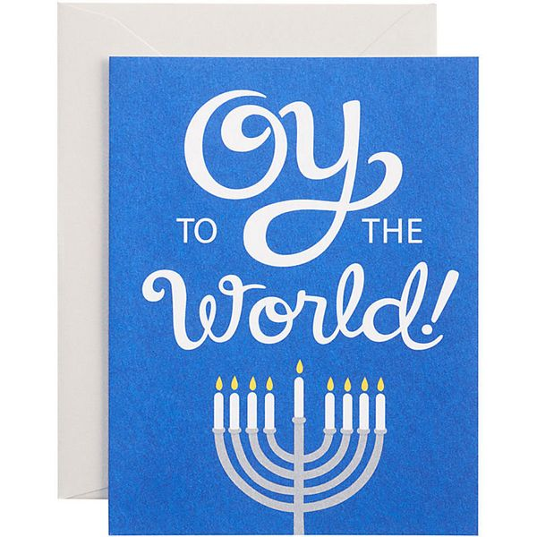 """Buy it <a href=""""http://www.papersource.com/item/Oy-to-the-World-A2-Holiday-Cards/4661008092.html"""">here</a>."""