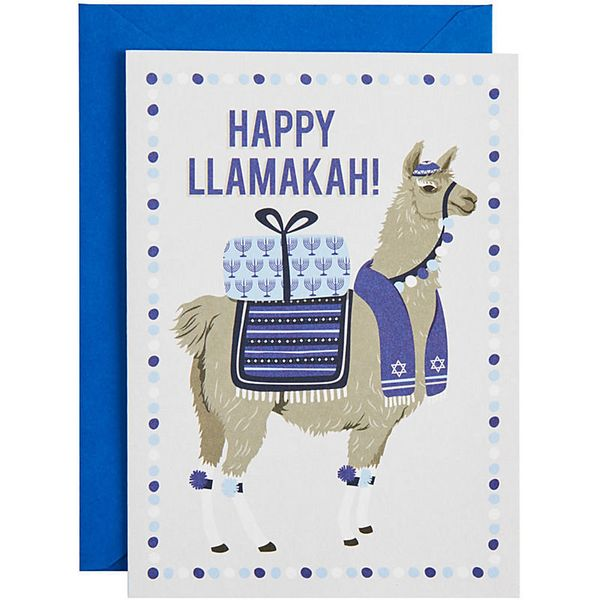 """Buy it <a href=""""http://www.papersource.com/item/Happy-Llamakah-A6-Holiday-Cards/3400_009_1/4661008087.html"""">here</a>."""