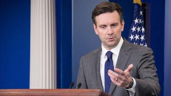 White House Press Secretary Josh Earnest speaks at the daily briefing at the White House in Washington, DC, on December 4, 2015.   AFP PHOTO/NICHOLAS KAMM / AFP / NICHOLAS KAMM        (Photo credit should read NICHOLAS KAMM/AFP/Getty Images)