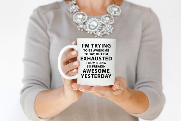"""<a href=""""https://www.etsy.com/listing/175516742/custom-coffee-mug-personalized-gift"""">I'm Trying To Be Awesome Today Mug, $14<"""