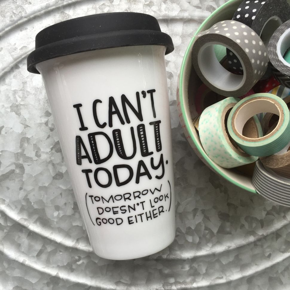 "<a href=""https://www.etsy.com/listing/242025786/i-cant-adult-today-humorous-coffee-mug"">I Can't Adult Today Mug, $17</a>"
