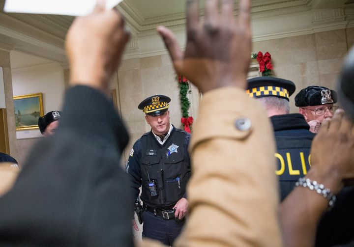 Demonstrators protest the police shooting death of Laquan McDonald in Chicago on Dec. 7, 2015.