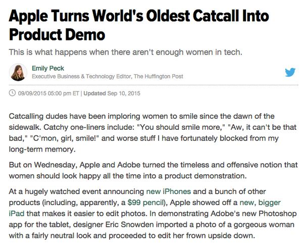 Apple is a mighty male-heavy company, so it may have sounded like a good thing that a woman made an appearance in its much-pu