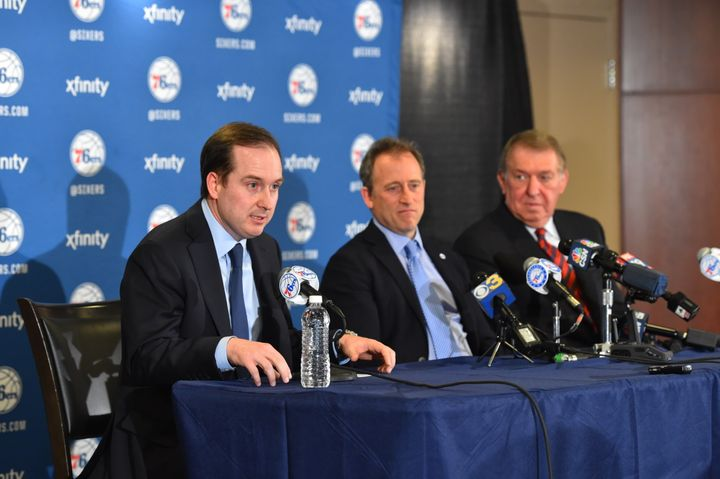 76ers GM Sam Hinkie, owner Josh Harris and new special advisor Jerry Colangelo