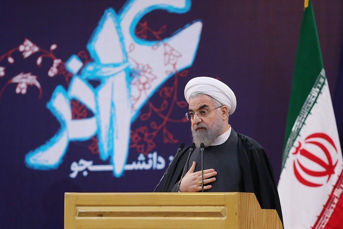 TEHRAN, IRAN - DECEMBER 07: Iranian President Hassan Rouhani delivers a speech during an event at the Sharif University of Technology in Tehran, Iran on December 7, 2015. (Photo by Pool/Iran Presidency/Anadolu Agency/Getty Images)