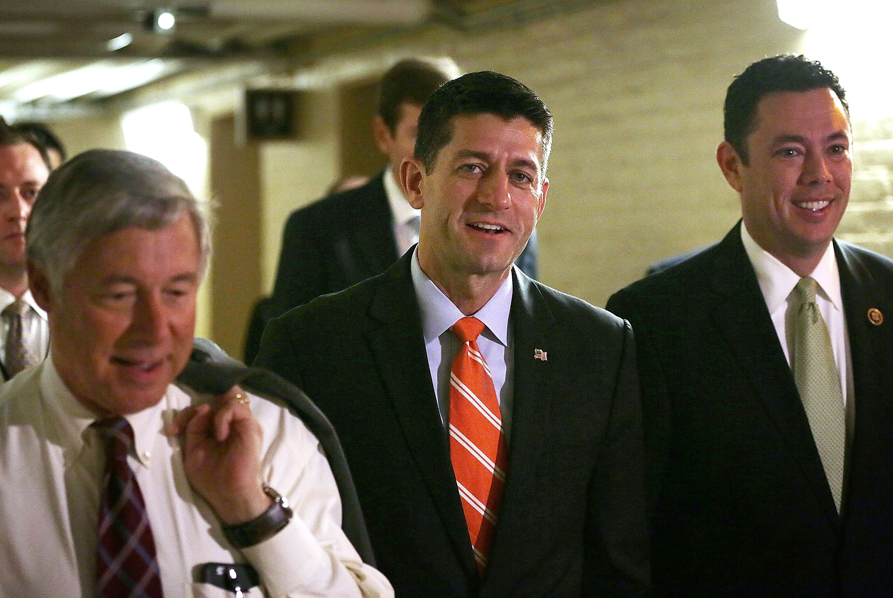 WASHINGTON, DC - NOVEMBER 05: U.S. Speaker of the House Rep. Paul Ryan (R-WI) (C) arrives with Rep. Fred Upton (R-MI) (L) and Rep. Jason Chaffetz (R-UT) (R) arrive for a House Republican Conference meeting November 5, 2015 at the Capitol in Washington, DC. House Republicans met to discuss party matters, including picking Brady as the new chairman for the Ways and Means Committee.  (Photo by Alex Wong/Getty Images)