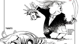 New York Daily News shows Donald Trump beheading the Statue of Liberty.