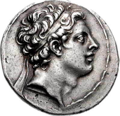 Coin with the image of Antiochus IV Epiphanes.