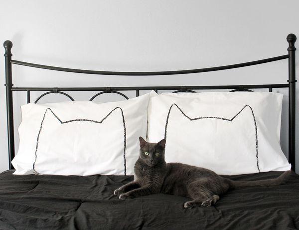 """Cat Pillowcases, $35.95,<a href=""""https://www.etsy.com/listing/105736314/cat-pillow-case-set-cat-ears-gift-for?ga_order="""