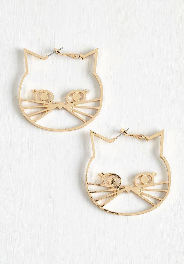 """Cat Earrings, $11.99,<a href=""""http://www.modcloth.com/shop/earrings/a-tail-of-two-kitties-earrings"""" target=""""_blank"""">Mod"""