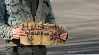 Homeless Guy with Dirty Denim Jacket and Sign