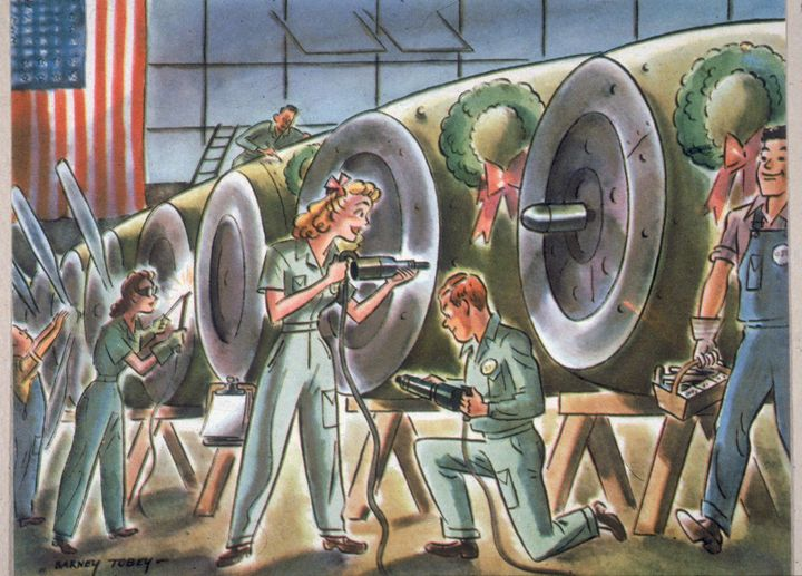 Cartoon by Bernard Tobey depicts men and women as they happily work together to build aircraft cowlings, each of which is decorated with a Christmas wreath, 1940s.