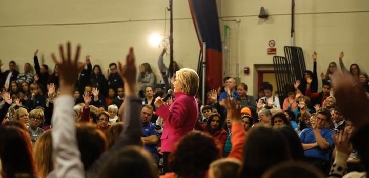 Hillary Clinton asks the crowd at a town hall in New Hampshire if they have been affected by the substance abuse epidemic.