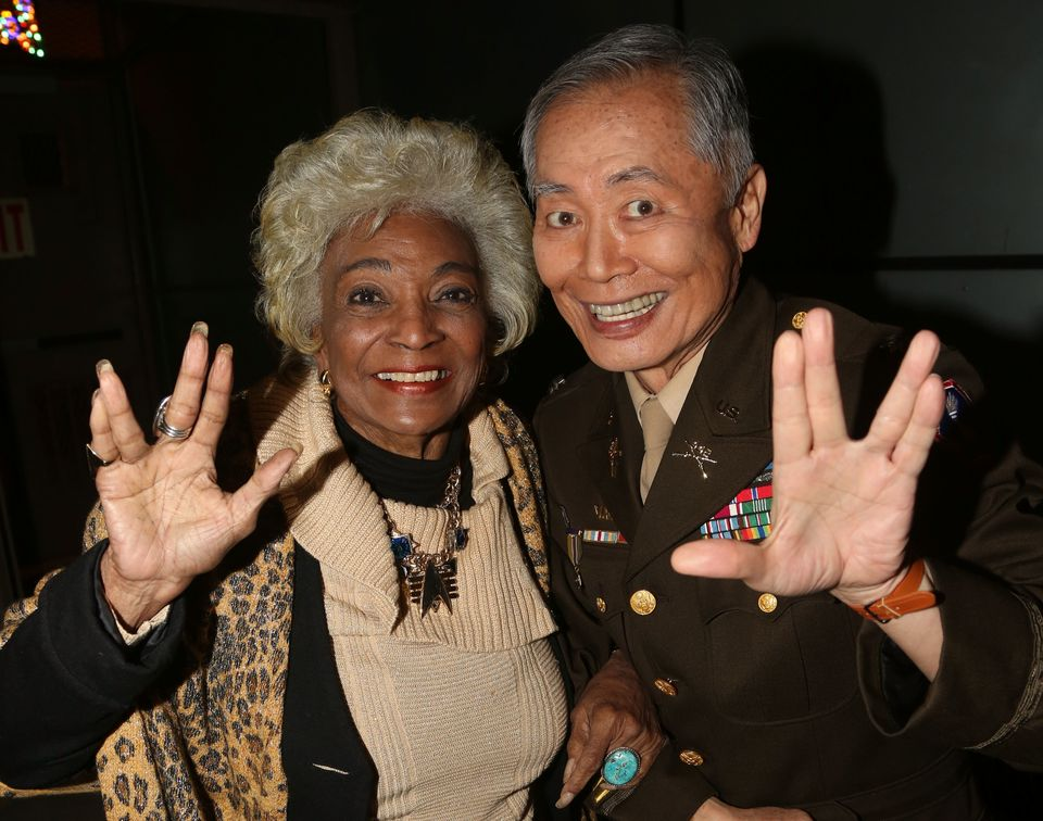 """Star Trek"" co-stars Nichelle Nichols and George Takei pose backstage at the hit musical ""Allegiance"" on Dec. 6, 2015, in New"