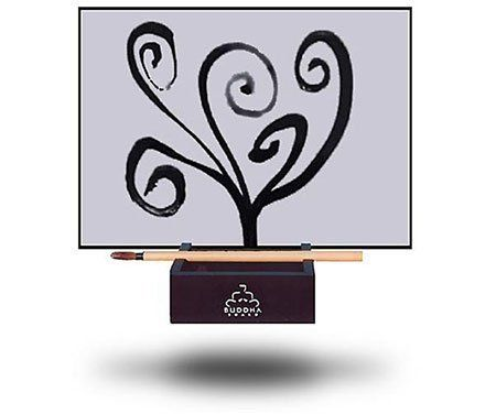 This Buddha Board will help release creative energy. The brush included in this set can be used to paint designs on the board