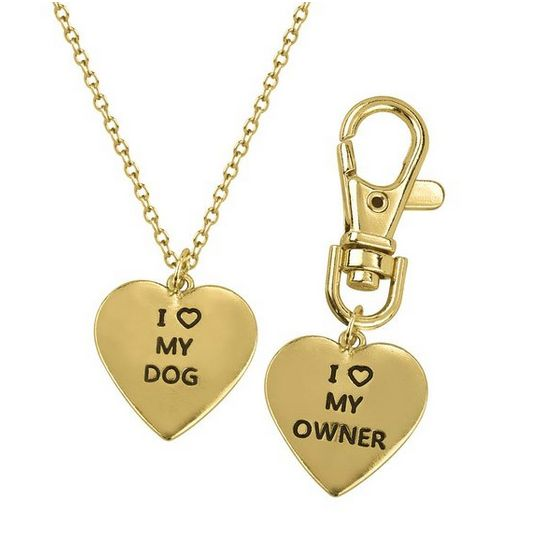 """Owner and Dog matching necklace and tag, $7.99,&nbsp;<a href=""""http://www.amazon.com/Lux-Accessories-Necklace-Matching-Keychai"""