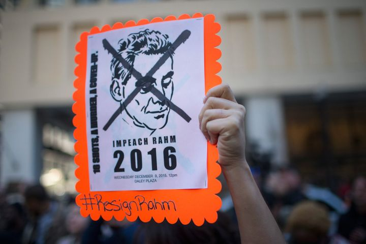 CHICAGO, IL - DECEMBER 09: Demonstrators march through downtown on December 9, 2015 in Chicago, Illinois. About 1,000 protest