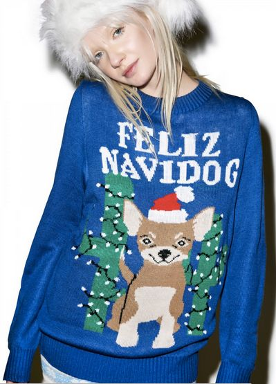 "Feliz Navidog Sweater, <a href=""http://www.dollskill.com/tipsy-elves-feliz-navidog-sweater.html"">$65</a>, Dolls Kill"